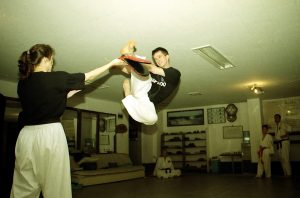 jumping roundhouse kick